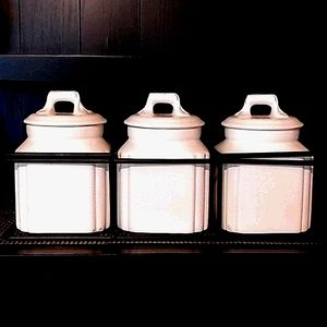 3 PIECE CANISTER SET W CARRYING METAL STAND/CADDY